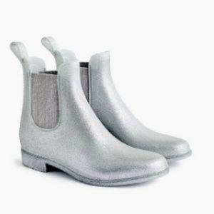 J. Crew Glitter Chelsea rain boots silver short
